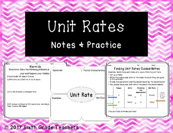 Unit Rates Notes and Practice Resources