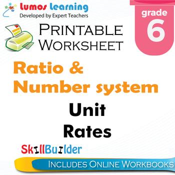 Unit Rates Printable Worksheet, Grade 6