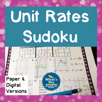 Unit Rates Proportions and Constant of Proportionality Sudoku Game