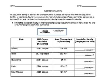 Unit Rates/ Ratio Population Activity