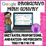Unit Rates, Ratios and Proportions Google Ready! TEKS 7.4B 7.4D 7.4E NO PERCENT
