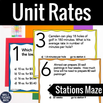 Unit Rates Stations Maze Activity