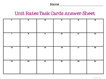 Unit Rates Task Cards: 7.RP.1