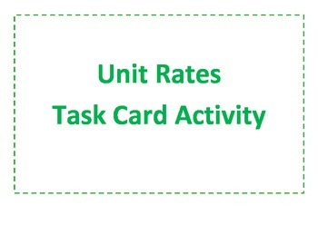 Unit Rates Task Cards Activity