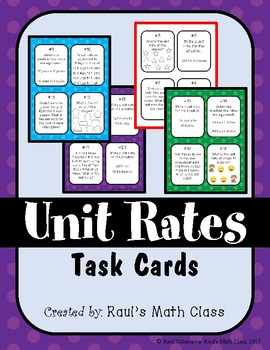 Unit Rates Task Cards (Set 2)
