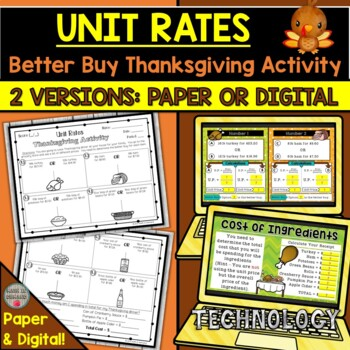 Unit Rates Thanksgiving Activity (Better Buy)