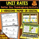 Unit Rates Thanksgiving Activity (Better Buy) PAPER & DIGI