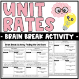 Brain Breaks Activity: Unit Rates | Partner Activity or Practice