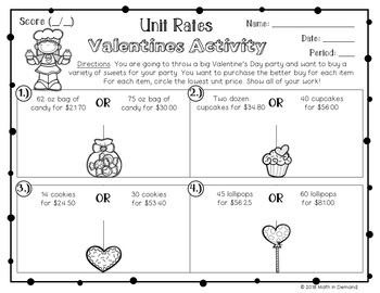 Unit Rates Valentines Activity (Better Buy)