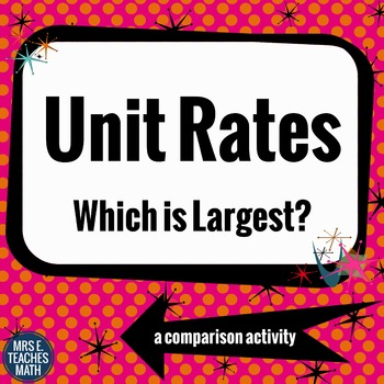 Unit Rates - Which is Largest?