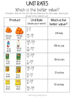 Unit Rates: Which is the better value?