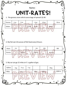 Unit-Rates Worksheet, Homework or Quiz by Hunka Learnin' Love | TpT