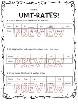 Unit-Rates Worksheet, Homework or Quiz