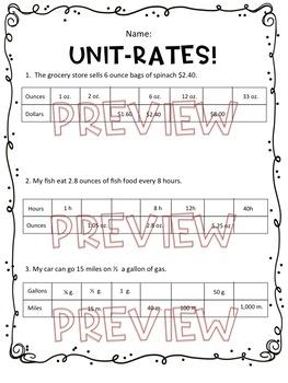 Unit Rates Worksheet, Homework or Quiz