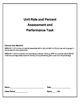 Unit Rates and Percent: Performance Assessment