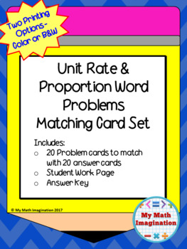 Unit Rates and Proportions Matching Card Set -