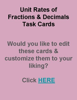 Unit Rates of Fractions & Decimals Task Cards