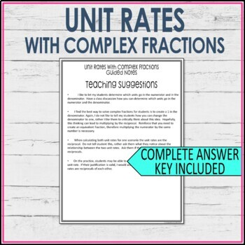 Unit Rates Guided Notes with Complex Fractions - Unit Rates Notes