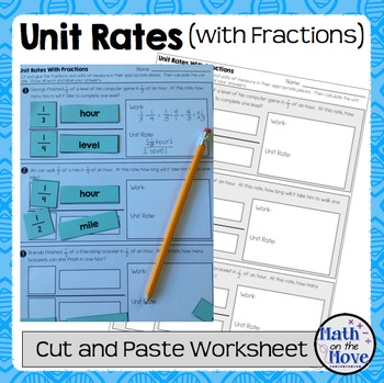 Unit Rates With Complex Fractions Cut And Paste Worksheet By Math