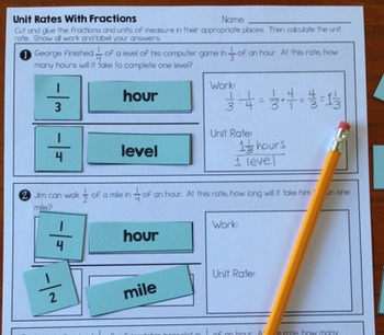 Unit Rates with Complex Fractions - Cut and Paste Worksheet