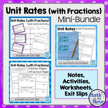 Unit Rates with Fractions - Mini Bundle (Notes, Worksheets, Activities)