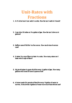 Unit-Rates with Fractions: Worksheet, Homework or Quiz