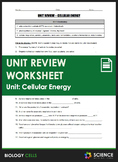 Unit Review - Cellular Energy - Distance Learning