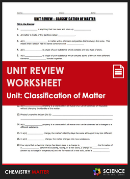 Unit Review - Classification of Matter by Science With Mr Enns   TpT