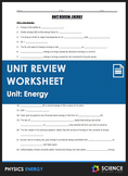 Unit Review - Energy - Distance Learning