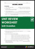 Unit Review - Evolution - Distance Learning