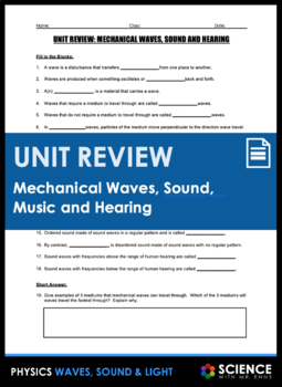 Wave diagram teaching resources teachers pay teachers unit review mechanical waves unit review mechanical waves ccuart Choice Image