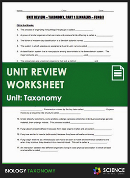 Unit Review - Taxonomy and Classification