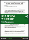 Unit Review - Taxonomy and Classification - Distance Learning