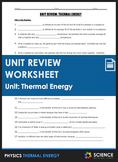 Unit Review - Thermal Energy, Heat, and Temperature - Dist