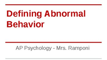 Unit Slides/PPT for ALL OF ABNORMAL PSYCHOLOGY - AP Psychology