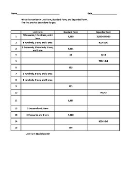 Unit, Standard, and Expanded Form Worksheet