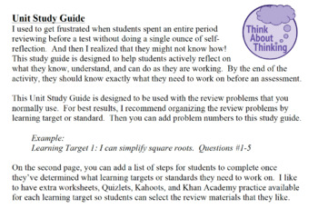 Unit Study Guide to Encourage Self-Reflection (EDITABLE)