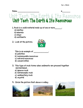 Unit Test: Earth & Its Resources