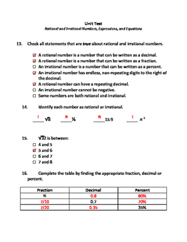 Unit Test: Expressions, Equations, and the Number System