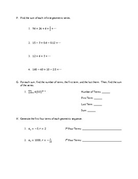 Unit Test: Geometric Sequences and Series
