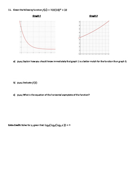 Unit Test- Inverse Functions, Exponential Functions, and Logarithms