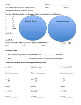 Unit Test:  Laws of Exponents, Sci. Not., Roots, Classifying  Real Numbers