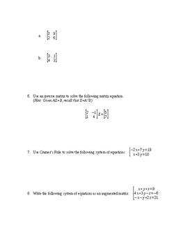 Unit Test: Matrices