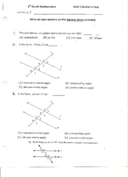 Unit Test:  Parallel Lines and Angles