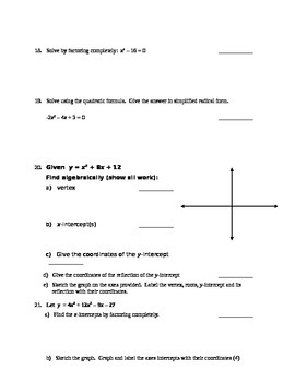 Unit Test Reivew - Graphing Polynomials in Standard Form