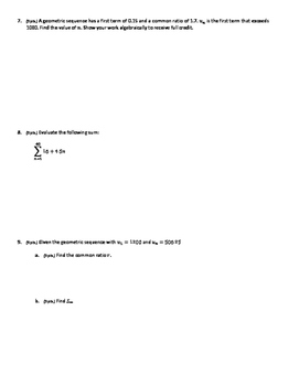 Unit Test- Sequences and Series