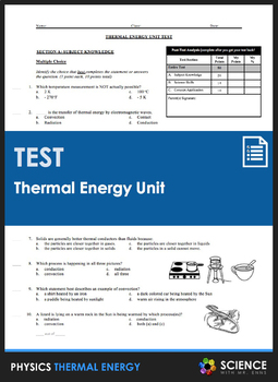 Unit Test - Thermal Energy: Heat and Temperature