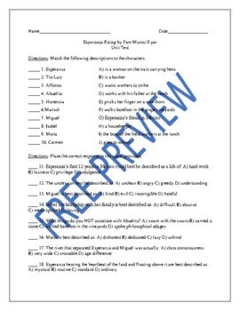 Unit Test and Answer Key for the Novel Esperanza Rising by Pam Munoz Ryan