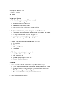 Unit Test for Realism, Regionalism, and Naturalism w/ answers