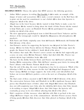 Unit Test for The Crucible by Arthur Miller ***With Keys***